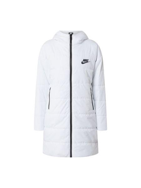 Biały płaszcz z kapturem z printem Nike