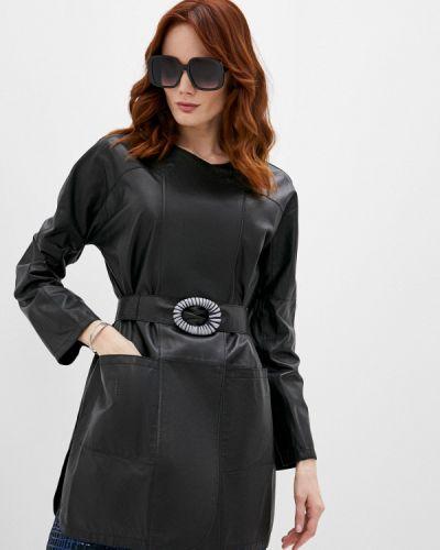 Кожаная куртка - черная Emporio Armani