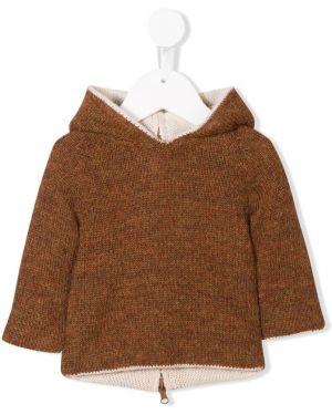 Brązowy sweter z kapturem wełniany Oeuf
