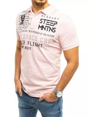 T-shirt z printem - różowa Dstreet