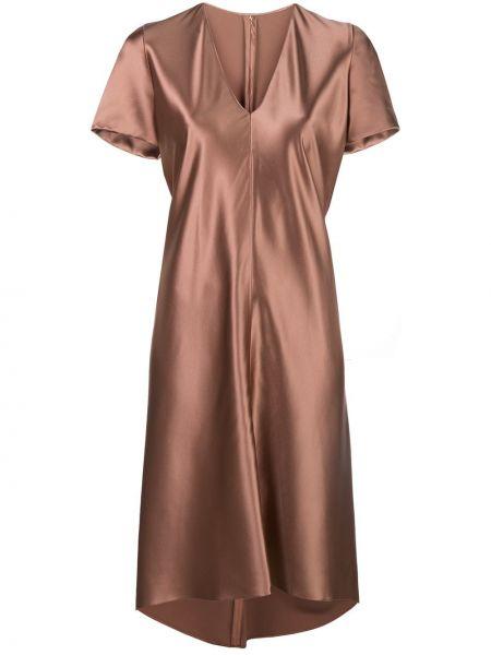 Шелковое коричневое расклешенное платье миди на молнии Peter Cohen