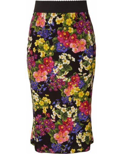 Юбка миди с завышенной талией с цветочным принтом Dolce&gabbana