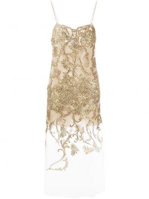 Кружевное платье золотое с вырезом Ermanno Scervino