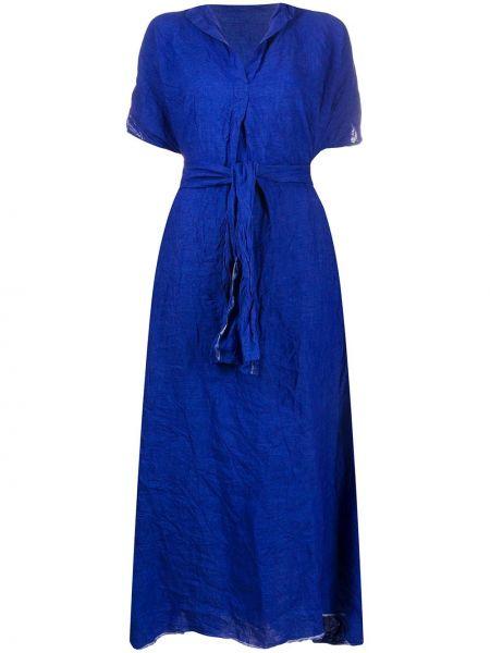 Синее платье мини свободного кроя на молнии с короткими рукавами Daniela Gregis