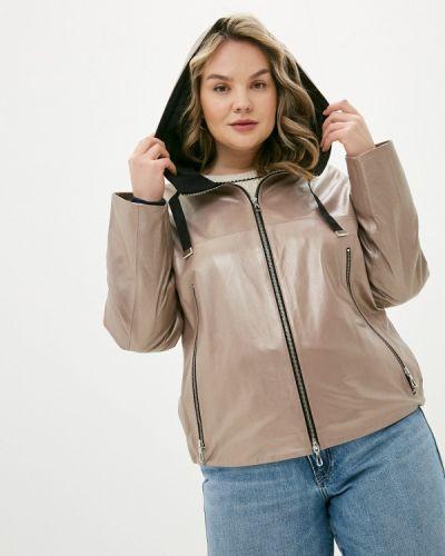 Коричневая кожаная куртка Le Monique