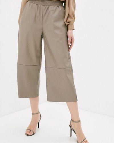 Бежевые кожаные брюки Mbym