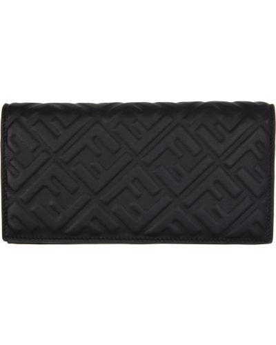 Czarny portfel skórzany pikowany Fendi