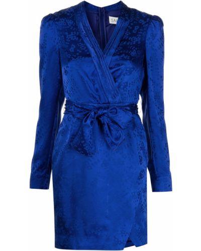 Шелковое синее платье макси с длинными рукавами Saloni