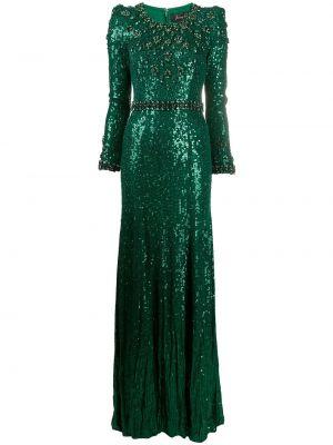 Шелковое с рукавами зеленое платье макси Jenny Packham