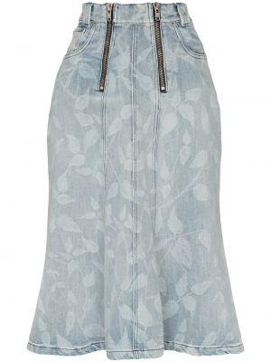 Прямая синяя юбка миди с поясом в рубчик Gmbh