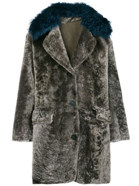 Серое кожаное пальто с воротником Sylvie Schimmel