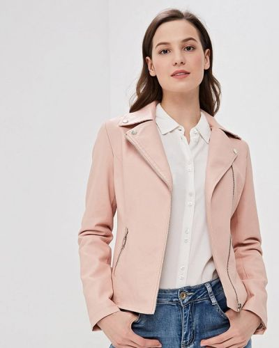 Кожаная куртка весенняя розовая Adrixx