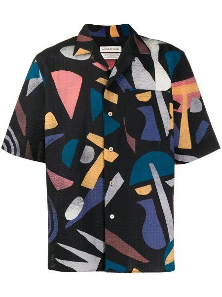 Черная прямая рубашка с короткими рукавами с воротником на пуговицах A Kind Of Guise