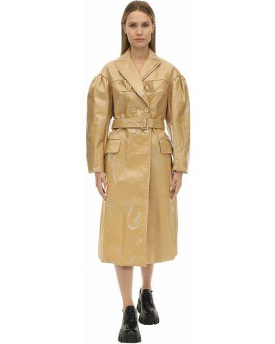 Płaszcz z paskiem zapinane na guziki z falbanami Simone Rocha