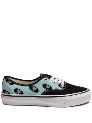 Черные кожаные кроссовки на шнурках Vans