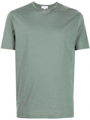 Зеленая хлопковая футболка Sunspel