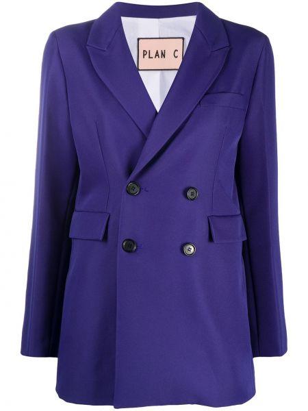 Синий классический пиджак двубортный на пуговицах Plan C