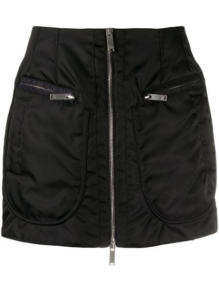 Черная юбка мини с вышивкой на молнии с карманами Marcelo Burlon. County Of Milan