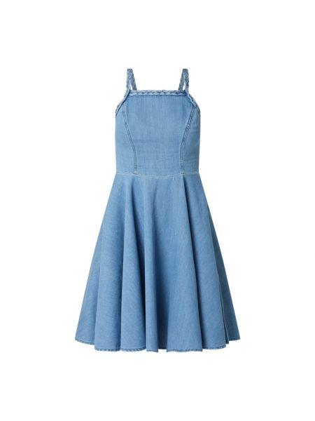 Niebieska sukienka rozkloszowana bawełniana Ltb