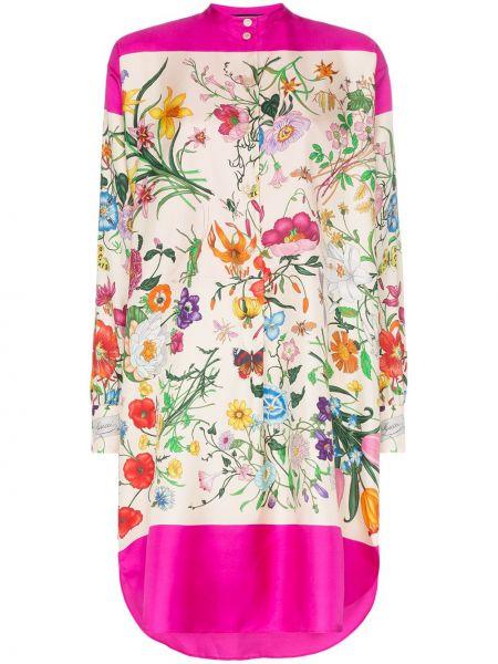 Платье розовое на пуговицах Gucci