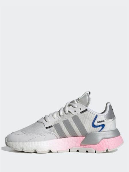 Кожаные белые кроссовки беговые на шнурках Adidas