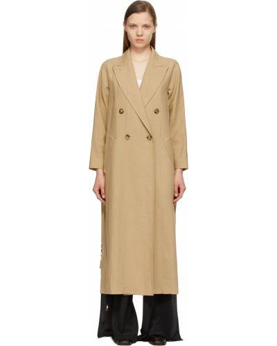 Бежевое длинное пальто Max Mara