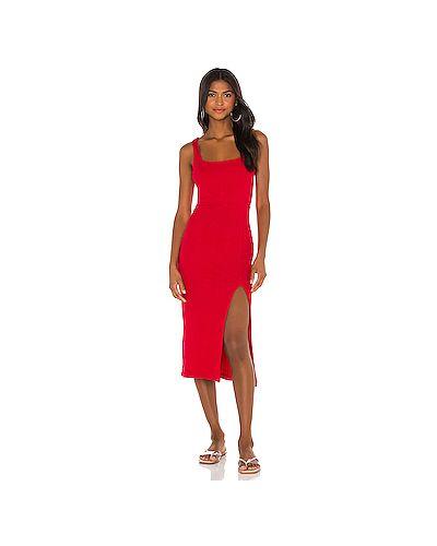 Красное пляжное платье в рубчик с разрезом из вискозы Lspace