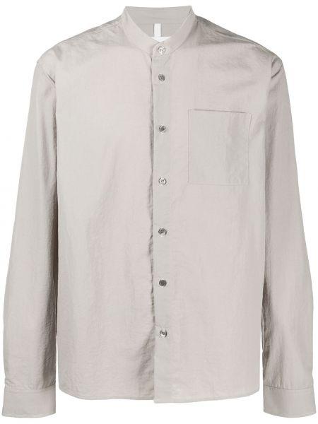 Серая рубашка с воротником на пуговицах с карманами Soulland