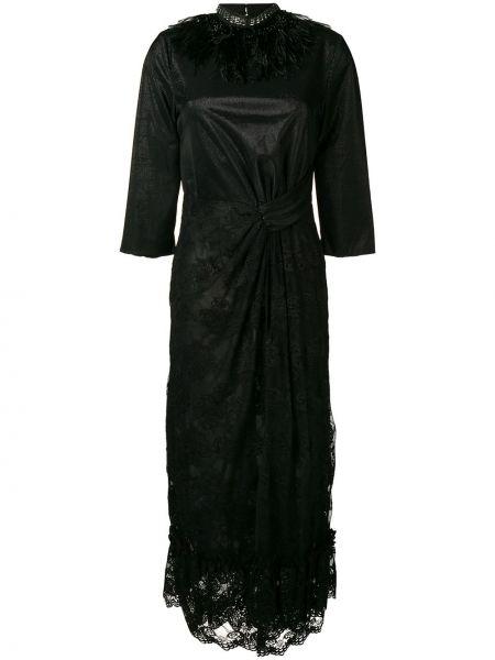 Черное ажурное платье миди с вырезом на молнии Christian Pellizzari