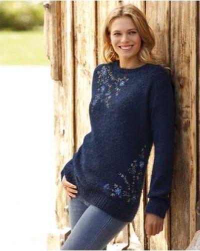 Синий вязаный свитер с вышивкой Atlas For Men