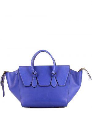 Синяя сумка-тоут металлическая с завязками Céline Pre-owned