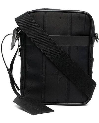 Czarna torebka crossbody z nylonu z haftem Valentino Garavani
