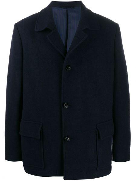 Niebieska długa kurtka wełniana z długimi rękawami Mp Massimo Piombo