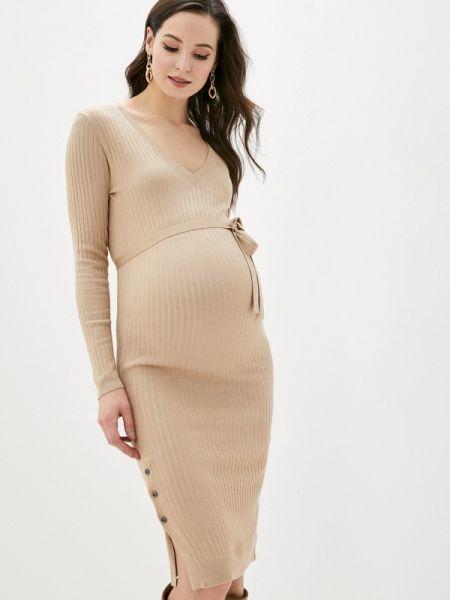 Платье для беременных прямое бежевое Mama.licious