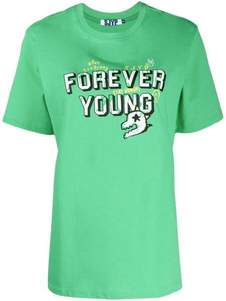 Zielony t-shirt bawełniany krótki rękaw Sjyp