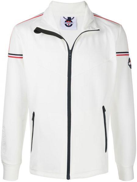 Белая спортивная куртка с нашивками на молнии Vuarnet