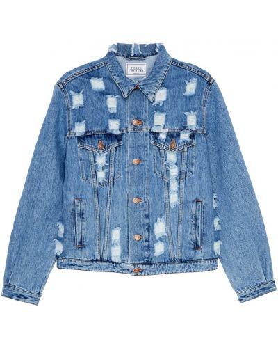 Хлопковая синяя джинсовая куртка с бахромой Forte Couture
