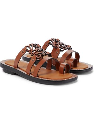 Brązowe sandały skórzane Loewe