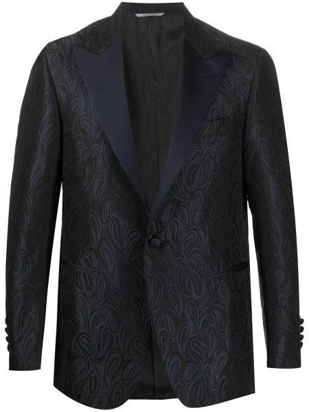 Шелковый синий удлиненный пиджак с карманами Canali