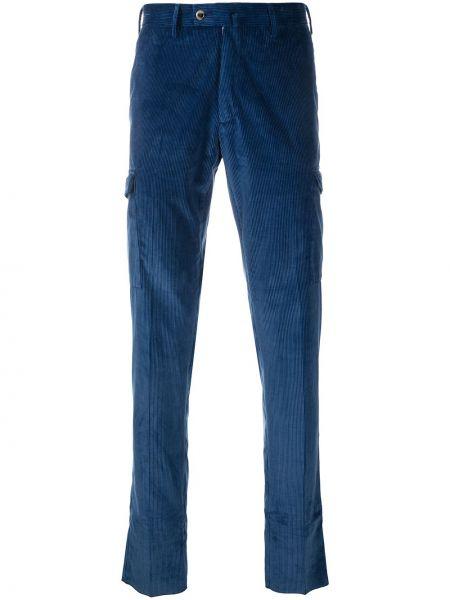 Синие брюки вельветовые на пуговицах Pt01
