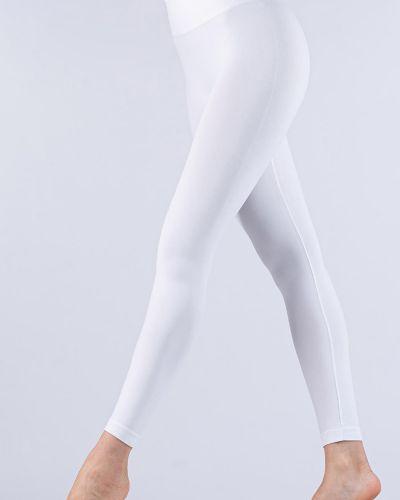 Бесшовные белые спортивные леггинсы из микрофибры Giulia