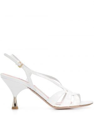 Białe sandały skorzane klamry Miu Miu