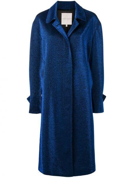 Синее пальто классическое с капюшоном с воротником Marco De Vincenzo