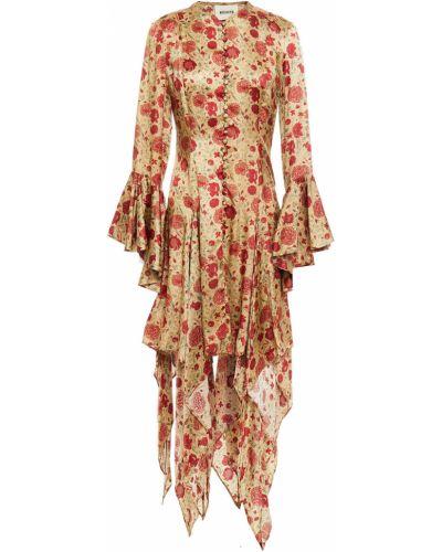 Бежевое платье миди с принтом Khaite