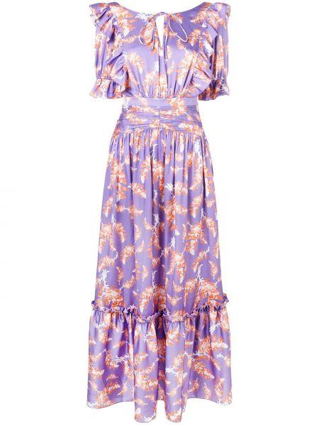 Платье с поясом с открытой спиной с цветочным принтом Three Floor