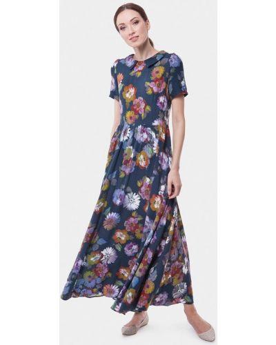 Платье макси весеннее синее Vladi Collection