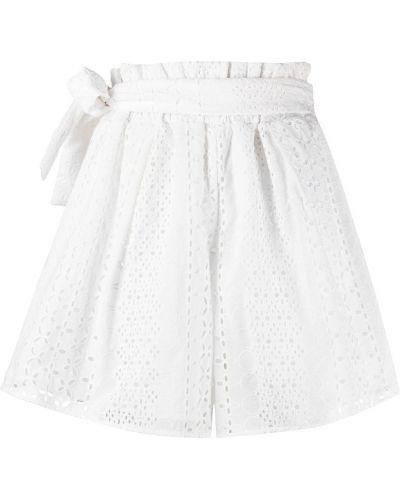 Хлопковые белые шорты с высокой посадкой Federica Tosi