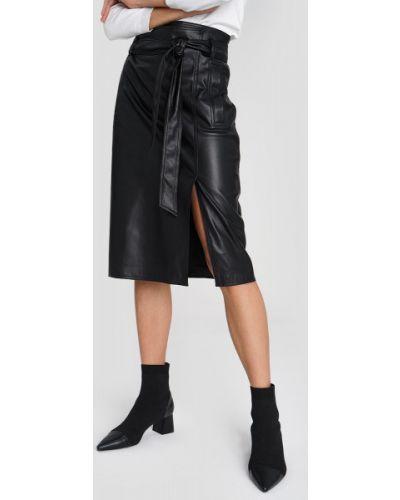 Черная юбка карандаш с запахом на молнии с поясом Ostin