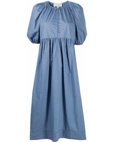 Прямое с рукавами синее платье The Great.