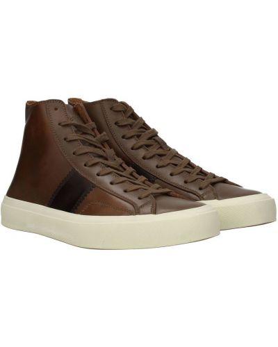 Brązowe sneakersy skorzane sznurowane Tom Ford